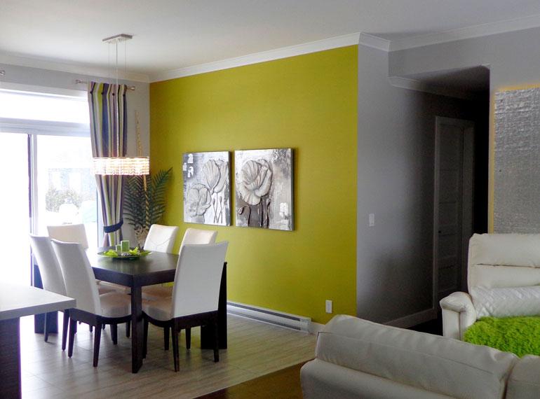 Mur peint avec la peinture Bétonel / Dulux
